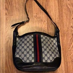 Gucci Vintage Monogram Blue Canvas Shoulder Bag